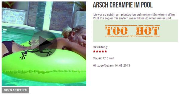 Arsch Creampie im Pool